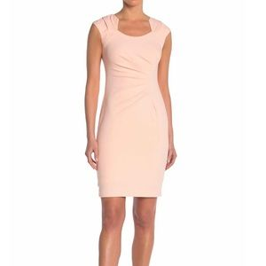 Calvin Klein Ruched Crepe Sheath Dress